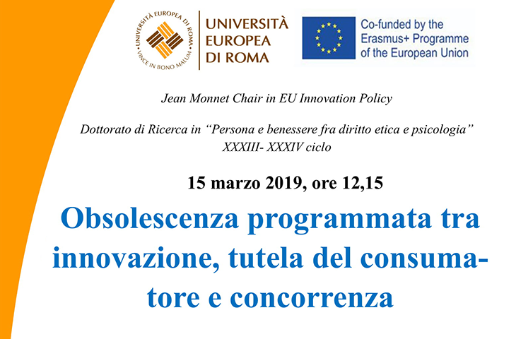 """Lectio Magistralis – """"Planned obsolescence among innovation, consumer protection and competition"""""""