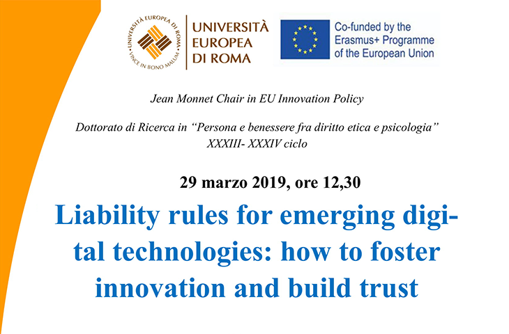 "Lectio Magistralis su ""Liability rules for emerging digital technologies: how to foster innovation and build trust"""