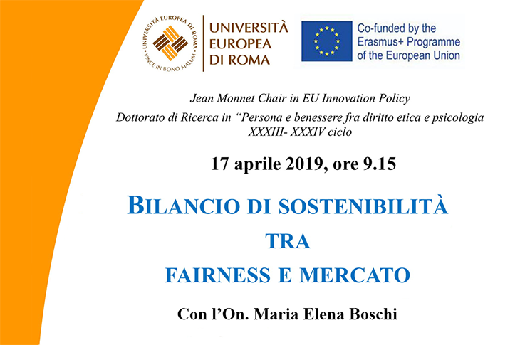 "Lectio Magistralis on ""Bilancio di sostenibilità tra fairness e mercato"" with Hon. M. Elena Boschi"