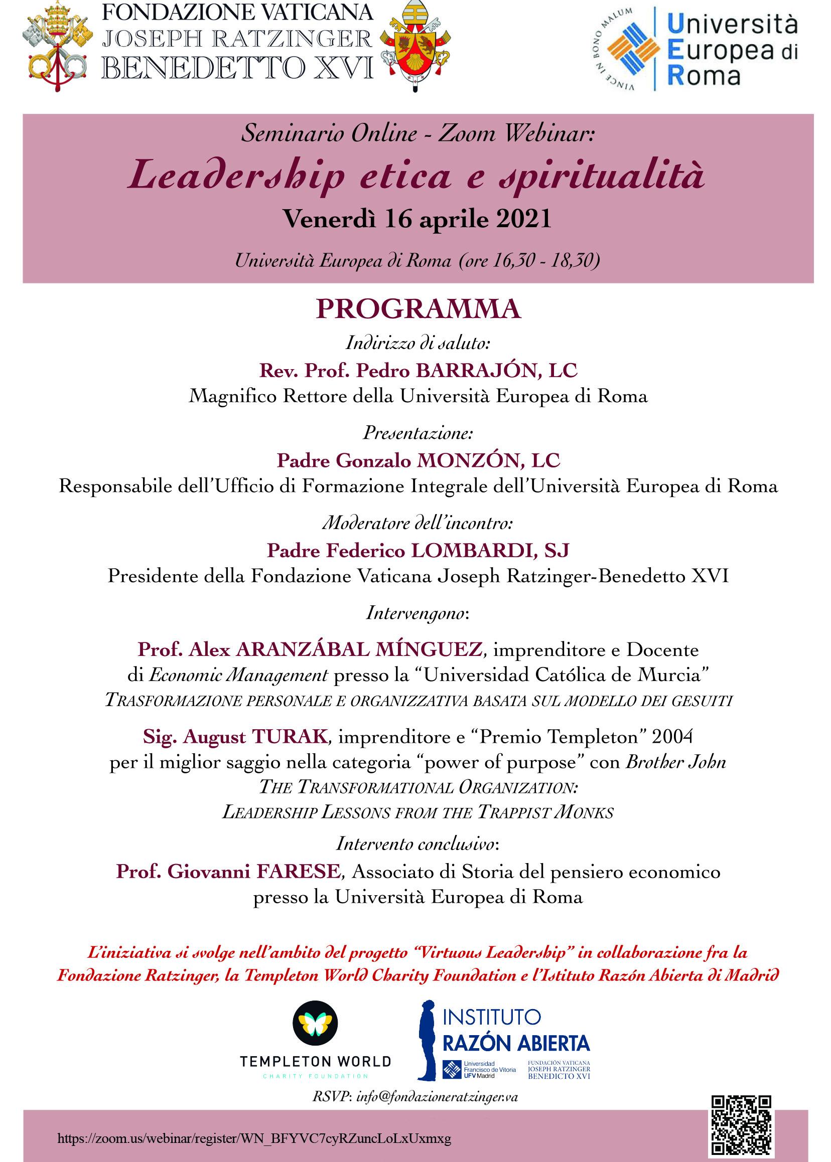 Leadership Etica e Spiritualità
