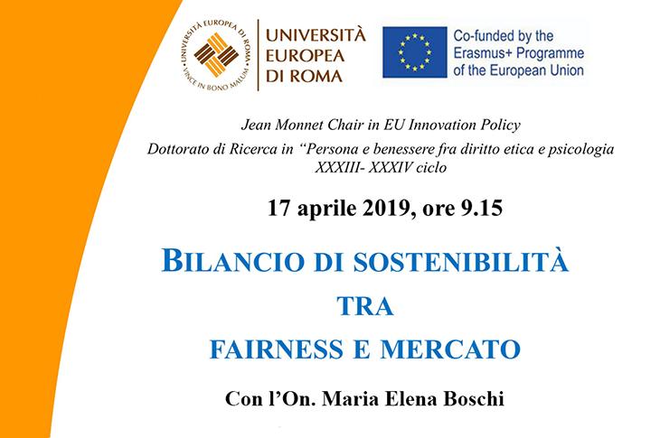"""Lectio Magistralis su """"Bilancio di sostenibilità tra fairness e mercato"""" con L'On. M. Elena Boschi"""