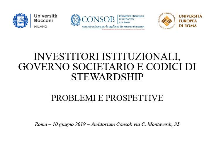 """Convegno """"Investitori istituzionali, governo societario e codici distewardship,problemi e prospettive"""""""