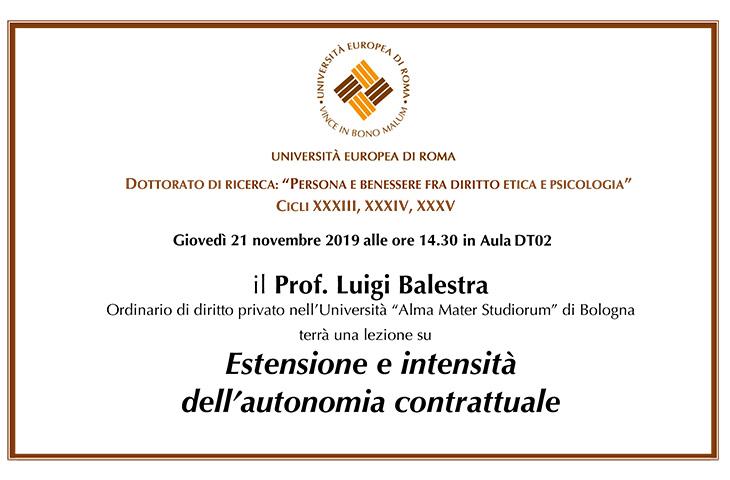 """Lezione su """"Estensione e intensità dell'autonomia contrattuale"""""""