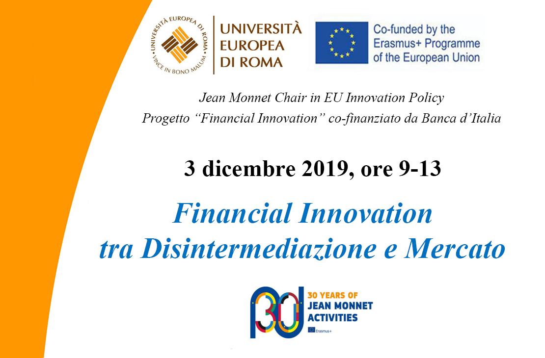 Seminario Financial Innovation tra Disintermediazione e Mercato