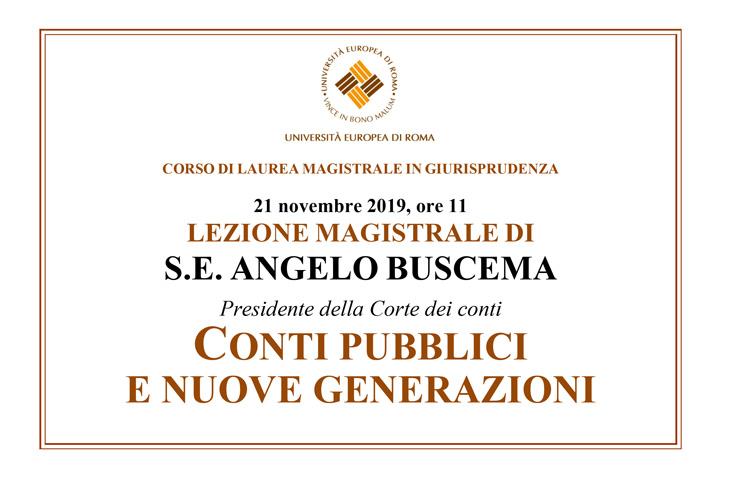 """Lezione Magistrale di  Angelo Buscema: """"Conti pubblici e nuove generazioni"""""""