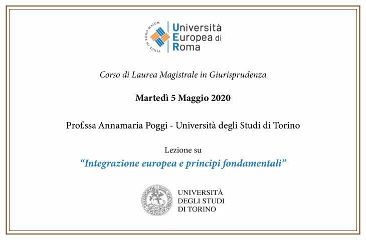 """""""Integrazione europea e principi fondamentali"""" – Prof.ssa Annamaria Poggi"""