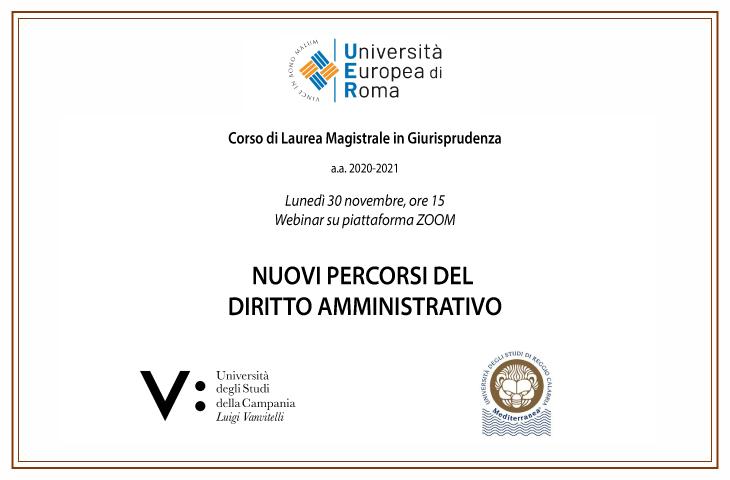"""Webinar """"Nuovi percorsi del Diritto Amministrativo"""""""