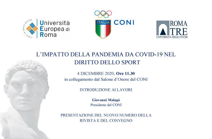 Convegno online su Covid-19 e Diritto Sportivo