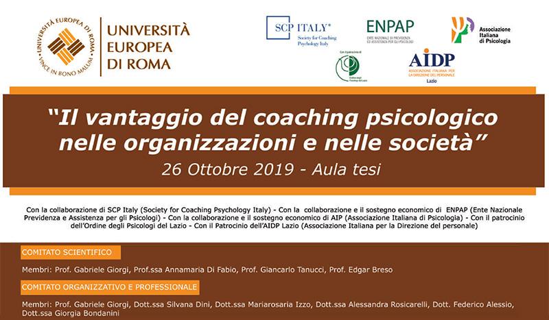 """Convegno: """"Il vantaggio del coaching psicologico nelle organizzazioni e nelle società"""""""