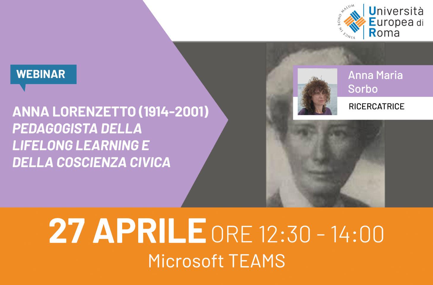 Webinar: Anna Lorenzetto (1914-2001), pedagogista della Lifelong learning e della coscienza civica